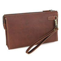 Men's Hand Bag Clutch Brown Useful Vintage Cow Leather Wallet Mobile Money Card Holders Man Business Travel Leather Handbags