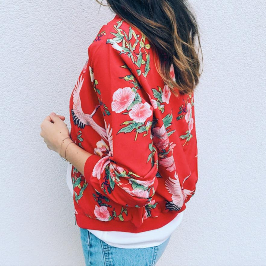 Outerwear & Coats Jackets Womens Ladies Retro Floral Zipper Up Bomber Outwear Casual coats and jackets women 18AUG10 12