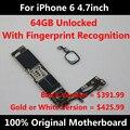 Função completa motherboard original para iphone 6 4,7 polegadas 64 gb versão unlock com chips de placa lógica mainboard 100% bom trabalho
