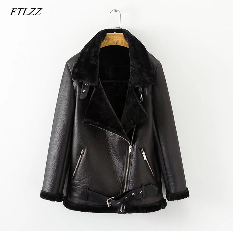 FTLZZ New Spring Winter Women's Pu   Leather   Street Jacket Casual Warm Zipper Jacket Female Warm Thick Imitation Fur Outwear