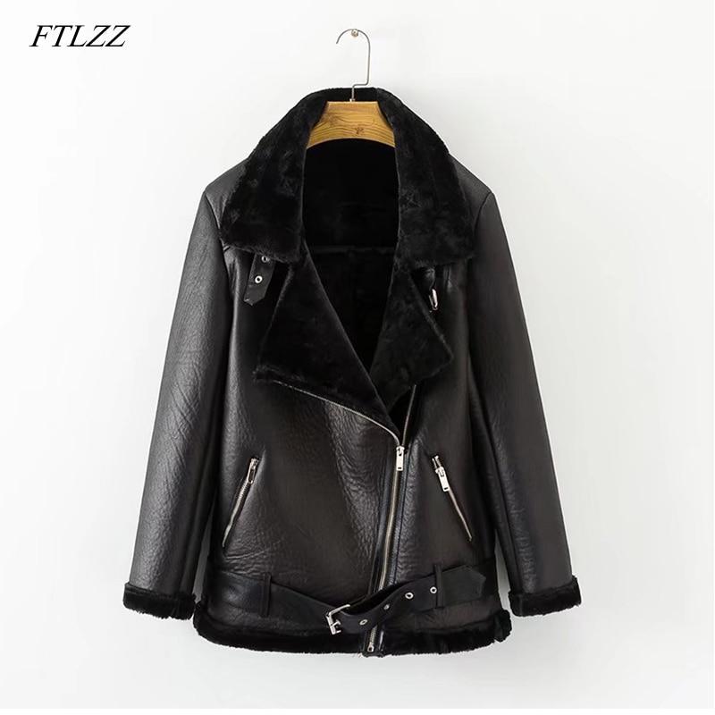 FTLZZ New Spring Winter Women's Pu   Leather   Street Jacket Casual Warm Zipper Jacket Female Warm Thick Imitation Fur Outwear