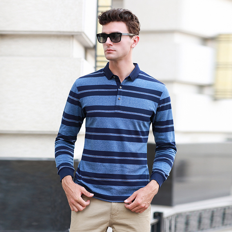 Autumn new arrival long sleeve cotton striped   polo   shirt men business casual loose homme breathable camisa plus size XXXL 18070