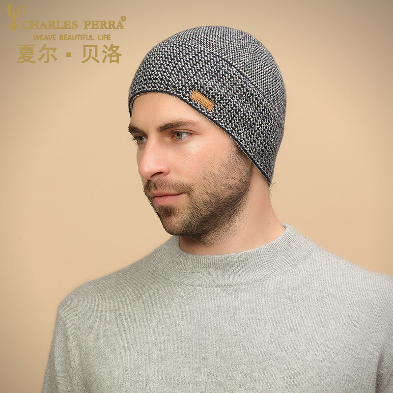Charles Perra NEW 2019 Men Knitted Hats Winter Double Layer Thicken Wool Hat Fashion Casual Male Skullies Beanies D307 in Men 39 s Skullies amp Beanies from Apparel Accessories