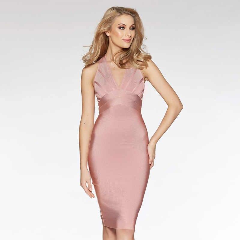 Новое поступление 2018, розовое сексуальное платье без рукавов с глубоким вырезом, облегающее платье с перекрестной спинкой, вечерние Клубные платья для женщин, новый год