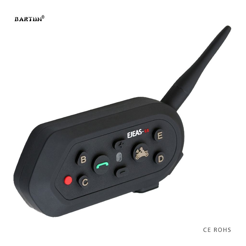 E6 Motorcycle Intercom Skiing Helmet Headset Ski Bluetooth Headphone Earphone Intercomunicator Bike Car Interphone for 6 Riders