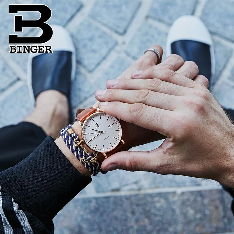 Szwajcaria BINGER zegarki mężczyźni luksusowa marka Relogio Masculino odporny na wodę ze stali nierdzewnej mechaniczne zegarki na rękę B 5081 w Zegarki mechaniczne od Zegarki na  Grupa 2