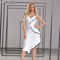 2018 New designer clothes woman strap backless sexy deep v neck hollow out white evening club bodycon bandage dress UP060