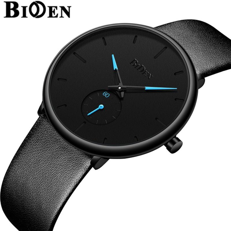 Männer Uhren Einfache Spaß Biden Marke Männer Armbanduhr Quarz Leder Mann Uhr Wasserdicht Herren Uhren Schwarz Braun Eleganter Auftritt