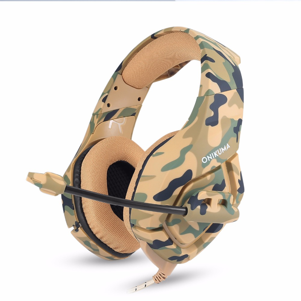 ONIKUMA gaming Headphones Camouflage Deep Bass Stereo Headset Game Earphones Casque with Mic for PC Xbox Mobile Phone PS4 gamer