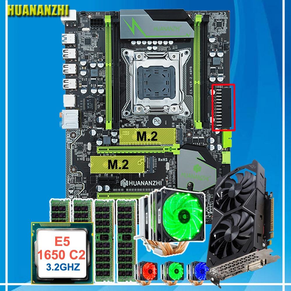 Desconto HUANANZHI X79 motherboard Pro com DUAL slot M.2 E5 1650 C2 CPU Xeon 3.2 GHz com RAM cooler 32G (4*8G) GPU GTX1050TI 4G