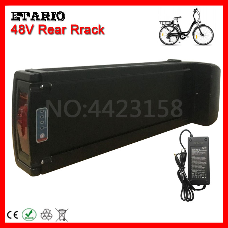 EU US No Tax 48V 8AH 10AH 12AH 13AH 15AH 18AH 20AH Rear Rack Battery Pack Electric Bike Lithium Battery E-bike Battery + Charger