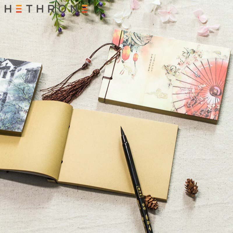 Hethrone Chinese Style Design Notebook Tassel Pendant Notebook Retro Paper Stationery Blank Handmade Sketchbooks Notepad