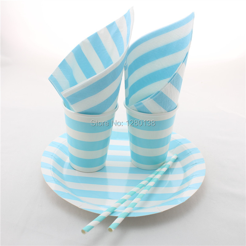 Disposable 5 Color Party Tableware Set Chevron Paper Plates Straws Bags Chevron Paper Cups Wooden Forks Spoons Knives  sc 1 st  AliExpress.com & Disposable Blue Party Tableware Set Striped Paper Plates Paper Cups ...