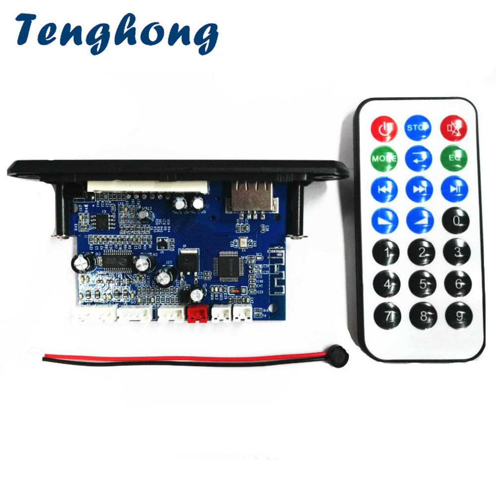 Tenghong MP3 Decoder Board Two-channel Amplifier Wireless Bluetooth 4.2 FM 10W+10W 12V Lossless Car Speaker APP Audio Receiver