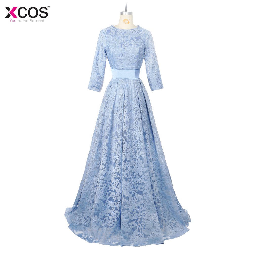 Baby Blue Prom Dresses with Sashes Floor Length Lace Formal Evening ...