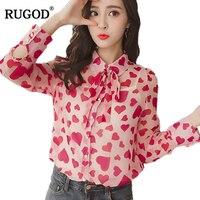 RUGOD 2018 Spring Korean Style Heart Print Chiffon Blouse Women Bow Tie Long Sleeve Shirt Female