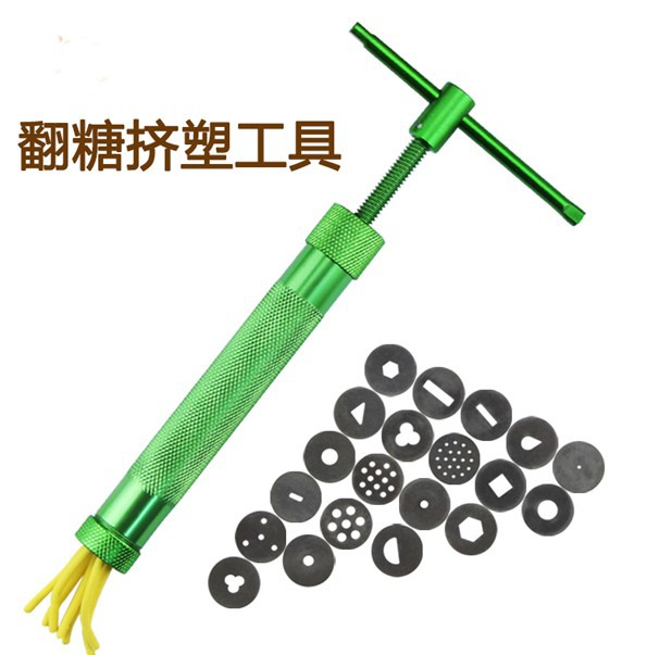 Nye DIY-verktøy Green Clay Cake Sculpture Gun med 20 tips Clay Craft Sugar Paste Extruder Fondant Cake Sculpture Polymer Gun Tool