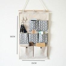 7 карманов, настенные сумки для хранения, хлопок, лен, органайзер для двери, водонепроницаемый чехол, для спальни, дома, офиса, контейнер, Новинка