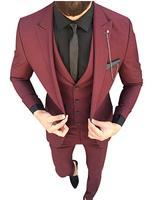 2019 New Arrival Men's 3 Piece Suit Peak Lapel Dress Tuxedo Wedding Suit for MEN GROOM BEST MEN ternos masculino Costume Homme