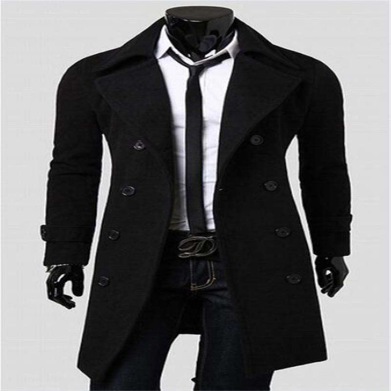 2018 Neue Männer Wolle Mantel Marke Neue Qualität Wolle Blends Langen Mantel Männlichen Winter Graben Pea Mantel Tropfen Verschiffen Top Weniger Teuer