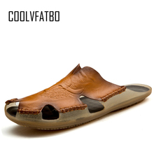 COOLVFATBO Men Sandals Breathable Genuine Leather Summer Non-slip Men's shoes Outdoor Beach Shoes Men Flip Flops Big Size 38-48 yatntnpy brand men sandals genuine leather beach shoes man summer casual slipper plus big size fashion non slip flip flops
