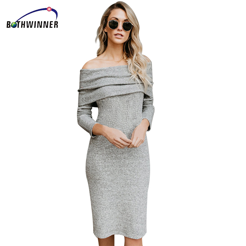 Bothwinner Off The Shoulder Knitted Dress Sexy Elegant Long Sleeve 2017 Autumn Women Gray Bodycon Bandage Dress For Women sweet off the shoulder long sleeve bodycon sweater dress for women