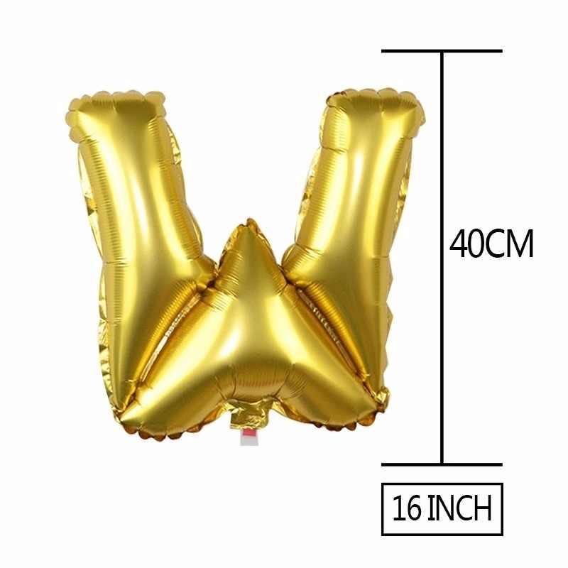 1 PC 40 Inch Sliver Rose Emas Besar Helium Foil Surat Balon DIY Nama Dekorasi Angka Pesta Ulang Tahun Dekorasi anak Balon