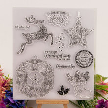 Merry Christmas Deer Shoes Clear Stamps for Scrapbooking DIY Silicone Seals Photo Album Embossing Folder Paper Maker Template