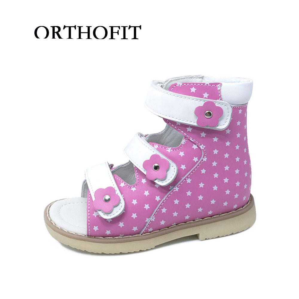 2017 Newest High Quality Healthy Genuine Leather Girls Orthopedic Shoes Kids Summer Sandals With Arch Support