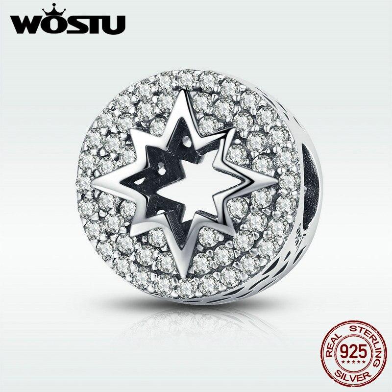 WOSTU New Fashion 925 Sterling Silver Sparkling Clear CZ Firework Charm Beads fit Women Charm Bracelet DIY Jewelry Making DXC563