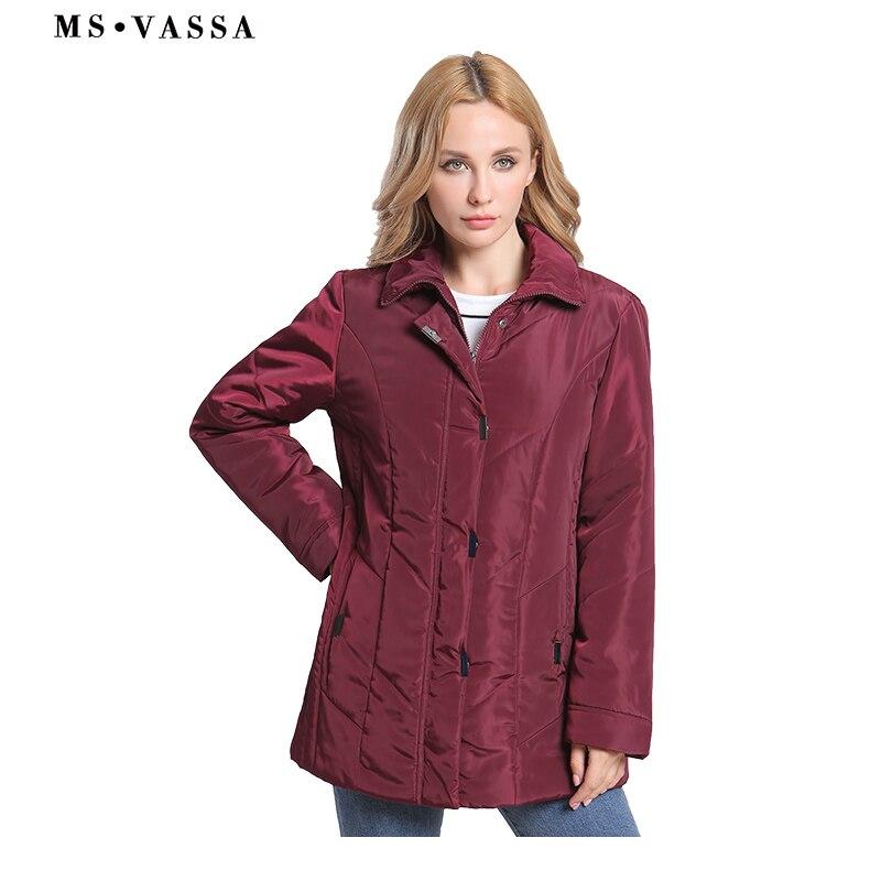 MS VASSA New Jackets Plus size Women 2018 Autumn Winter Ladies Coats Turn down collar big