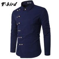 T Bird New Brand 2017 Men Shirt Double Breasted Dress Shirt Long Sleeve Slim Fit Camisa