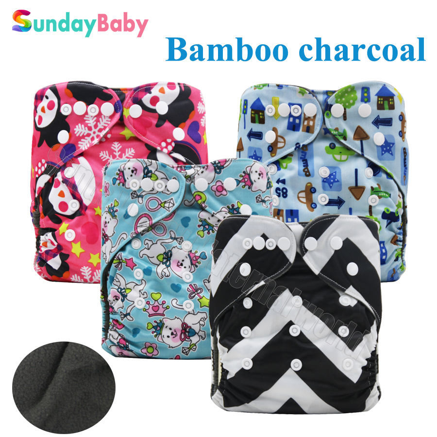 Washable baby cloth diaper bamboo charcoal inner reusable baby diapers and waterproof pul fabric newborn cloth