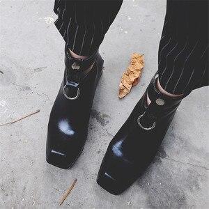 Image 4 - FEDONAS Frauen Stiefel Aus Echtem Leder Quadrat Heels Herbst Winter Stiefeletten Sexy Schnee Stiefel Schuhe Frau Schnallen Motorycle Stiefel