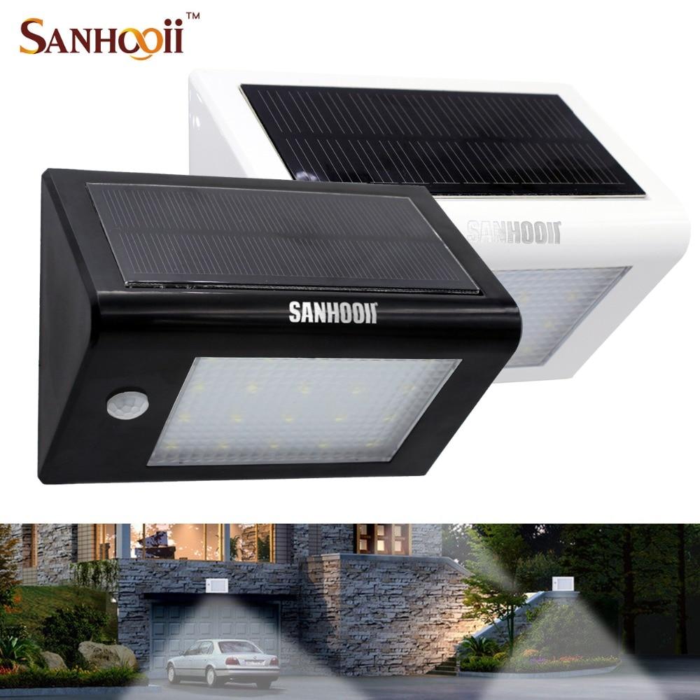 SANHOOII Outdoor Solar Power Wall Light PIR Motion Sensor