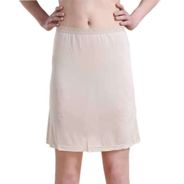 100% Pure Silk Women's Half Slips Femme Underskirt Sexy Lace Waist Elastic Women Casual Long Slip Lady Petticoat Woman Chemise