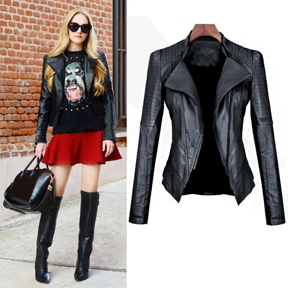 2016 autumn High Street Suit Lady Turn-down Collar PU Leather Jacket Zipper Women Fashion Slim Leather Coat 30