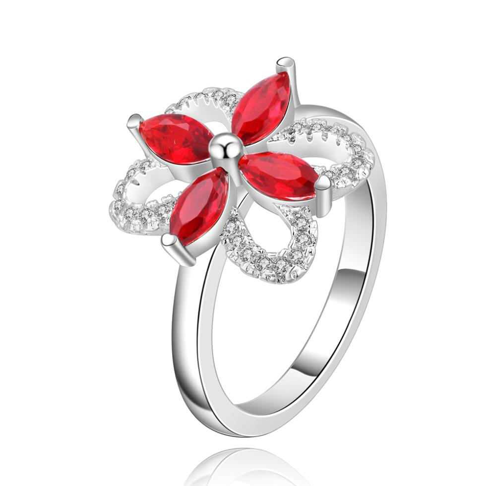 4 Red Stone Flower Cr540# Sex Rings For Men Engagement Ring Silver Plated  Bijoux Women