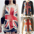 Women Fashion UK Flag Wildfox Pattern hollow out loose Knitting Sweaters Pullover Tops Tricot Sweter alibaba express sale