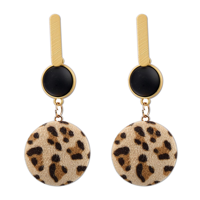 Vintage Exaggerated Velvet Leopard Drop Earrings For Women Bohemian Geometric Hollow Round Square Earring Statement Jewelry