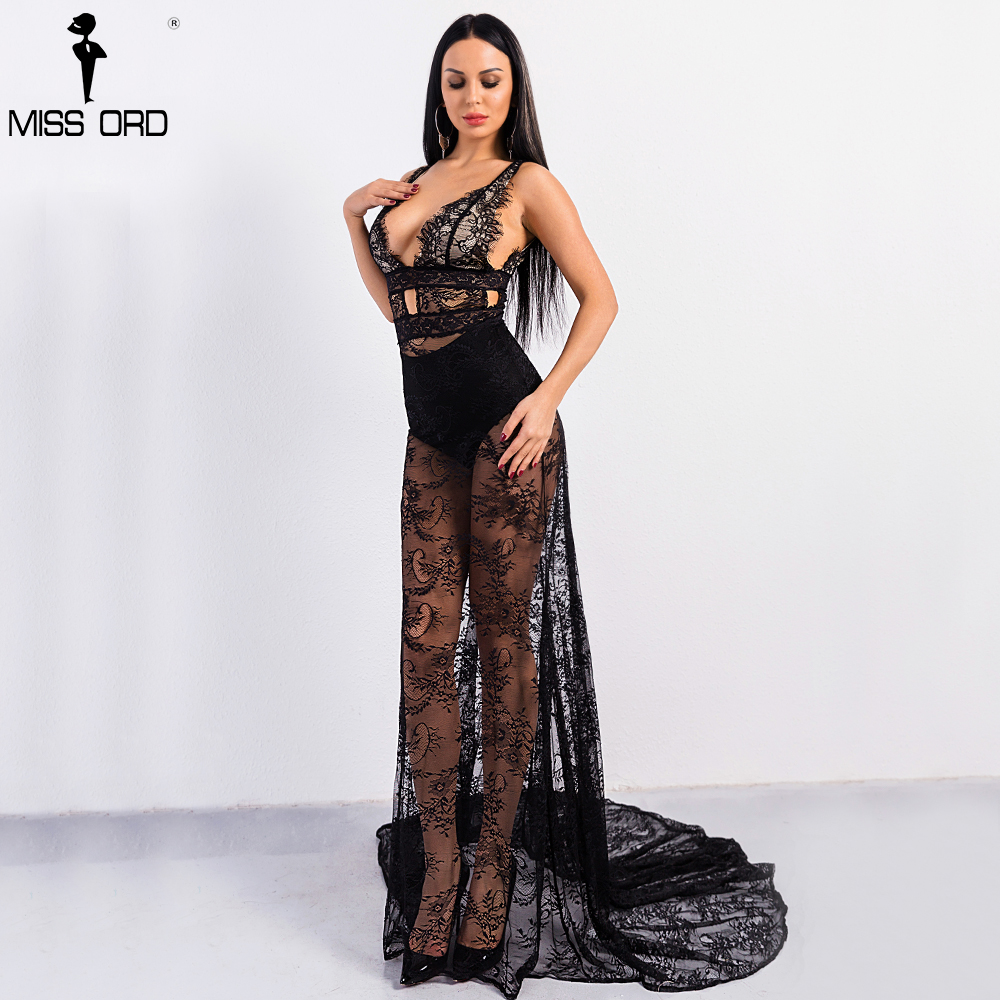 Missord 2018 Sexy Spring and Summer Deep V Off Shoulder Backless Lace Dress Female See Through Maxi Party Dress FT8995