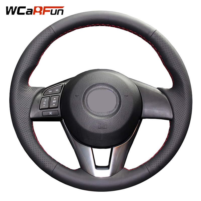 WCaRFun DIY Hand-Stitched Black Artificial Leather Steering Wheel Cover for Mazda CX-5 CX5 Atenza 2014 New Mazda 3 CX-3 2016 брюки спортивные женские oodji ultra цвет темно синий 16700030 20 46173 7900p размер xl 50