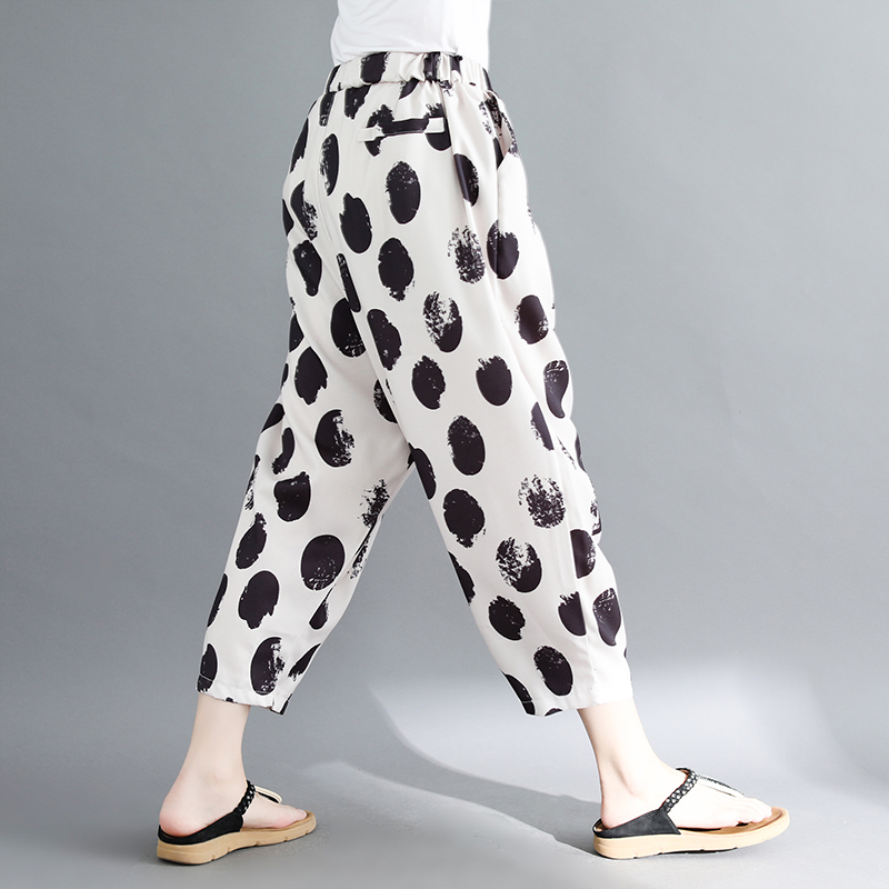 women white and black dot harem pants 2018 summer new loose fashion high-waist button fly female trousers pant 3