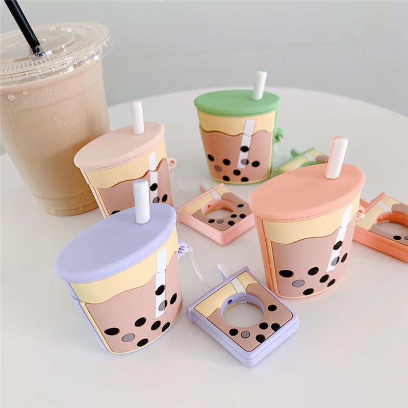 For Airpods Case New Cartoon Silicone Cute Pearl Milk Drink Bottle Earphone Protect Cover For Air Pods 2 With Finger Ring Strap