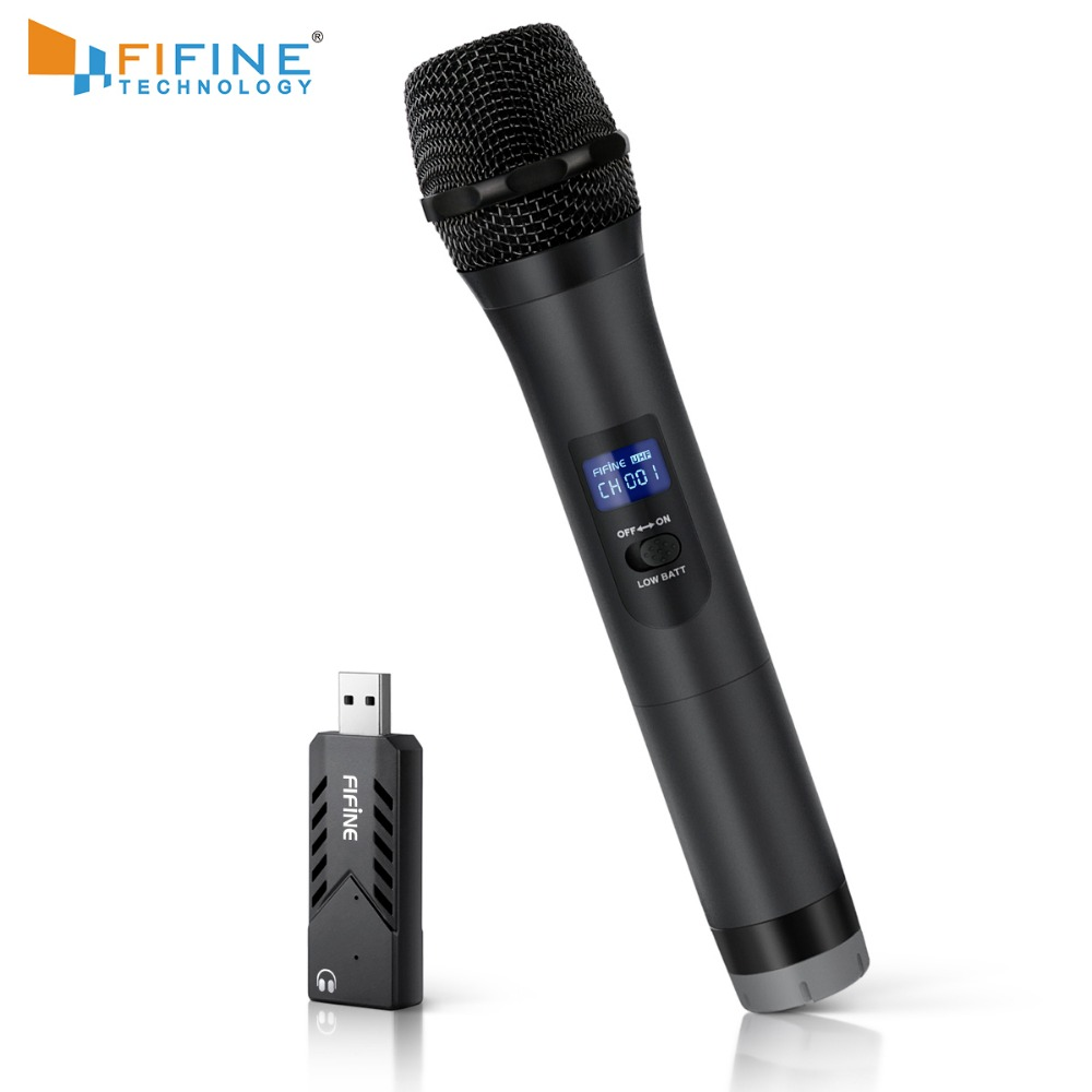 fifine wireless uhf handheld dynamic microphone with usb receiver output to laptop or pc phone. Black Bedroom Furniture Sets. Home Design Ideas