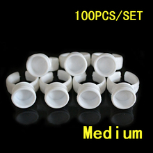 100pcs Medinu partition pigment ring Ink Cups Pigment Color Rings Permanent Make Up Ink Tattoo Accessories