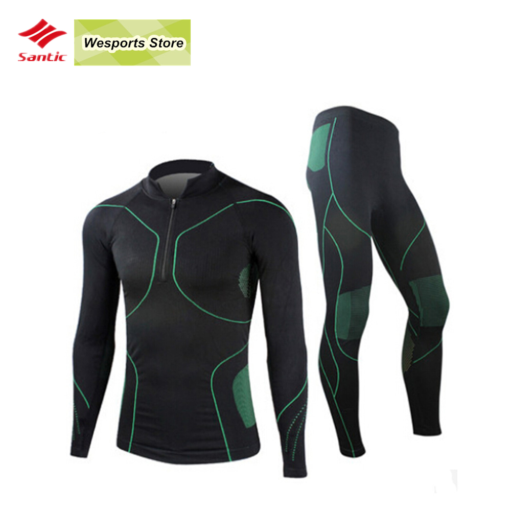 SANTIC Mens cycling Thermal Base Layer Breathable Outdoor Sports jerseys underwear bike bicycle cycling Jersey Set clothing