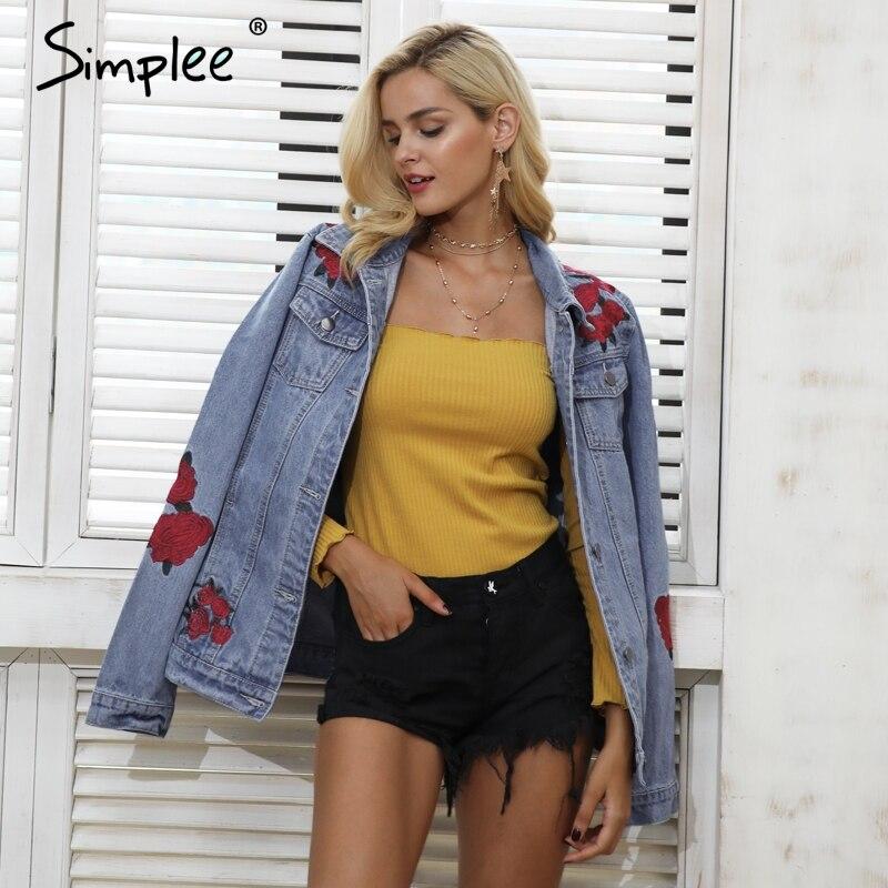 Simplee Denim blue basic jackets coat Women Casual streetwear jackets female 2017 autumn winter warm outerwear