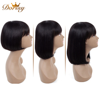 Human Hair Wigs Short Human Hair Wigs Bob Wig With Bangs For Black Woman Dorisy Non Remy Bob Short Wig