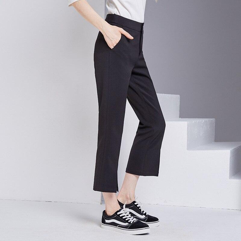 bootyjeans spring 2018 new European high-end women's slim black all-match split ankle length pants casual bottom pants 28
